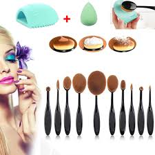 dels about 10pcs makeup brushes set oval cream puff toothbrush brush cleaner sponges