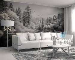 Aangepaste Behang Woonkamer Slaapkamer Fresco Nordic Zwart Wit Bos