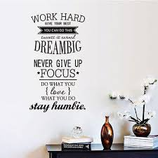 home decor wall art stickers. work hard stay humble wall art decal inspiring quote vinyl sticker office decor - translator- home stickers