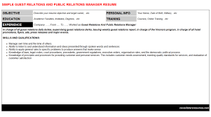 Guest Relations And Public Relations Manager Cover Letter Resume 6931