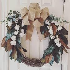 Cotton and Magnolia Farmhouse Wreath