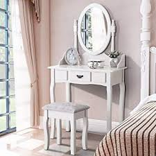 mecor white dressing table with mirror and stool makeup vanity table bedroom furniture