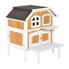 2 story wooden raised indoor outdoor cat house cottage wood white houses enclosed indoor cat houses small outdoor