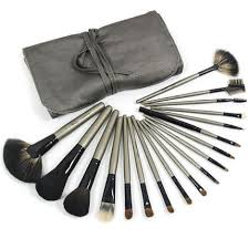 pro 18 piece sable makeup brush set with gray pu pouch copper wooden handle