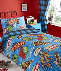 boys double duvet cover set blue super hero comic book bedding