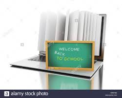 3d ilration laptop puter with book pages and wele back to text on blackboard e learning digital library and education con