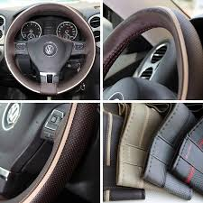 circle cool sport racing style dark brown leather with light beige line steering wheel wrap cover