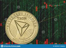 Token Trx Tron Cryptocurrency On The Background Of Binary