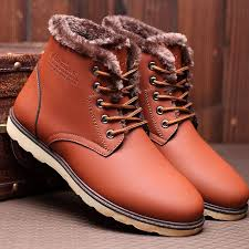snow boots men waterproof leather men s shoes elegant trendy sewing round toe ankle boots for men warm winter