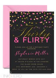 Dinner Invation Thirty And Flirty Birthday Invitation 30th Birthday Invitation Faux Glitter Gold