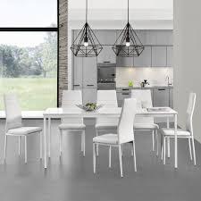 Details Zu Encasa Esstisch Mit 6 Stühlen Weiß 180x80cm Küchentisch Esszimmertisch