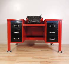 vintage industrial factory gf tanker red underwood typewriter metal desk table