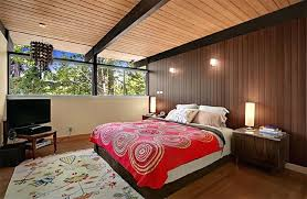 mid century modern bedding. Mid Century Modern Bedding Retro Style Meets Bedroom With Wood Paneling N