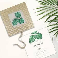 Beach Invitation Tropical Beach Theme Wedding Anniversary Bamboo Linen Invitation Box