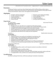 Resume Landscaping Resume Sample