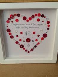 ruby wedding anniversary on art gift personalised wedding anniversary framed gift
