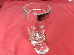 vtg duiske irish handcut boot shaped shot glass etched clover 3 lead c 3