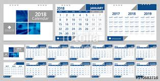 Calender Design Template Calendar 2018 Template Set 12 Months Front Cover And Back Cover