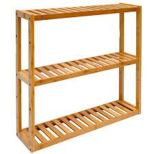 Wandregal 54x60x15cm Bambus Bad Regal 3 Fächer Holz A Real