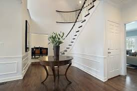 image of iron wood round entryway table