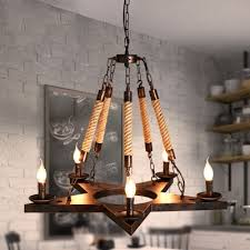 industrial vintage 28 w chandelier with hanging rope in rust 5 light