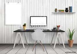 modern office plants. Computer On Desk And Isolated Poster Mockup In Modern Office Interior.  Shelf, Plants, Plants D