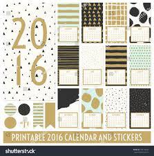 Twelve Month 2016 Calendar Template Hand Stock Vector
