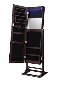 get ations lockable standing jewelry armoire cabinet organizer with mirror and led lights by abington lane