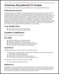 Resume Examples Veterinary Receptionist Veterinary Receptionist