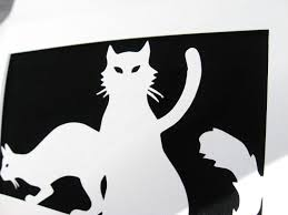 Silhouette Art Designs Buy Hand Crafted Cat Greeting Card Cut Paper Silhouette Art