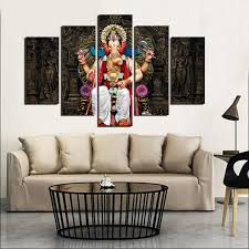 Small Picture 5 panel printed group canvas painting India Ganesha canvas print