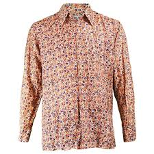 Patterned Button Up Shirts Adorable Vintage 48s Men's Indian Silk Floral Hand Woven Block Printed