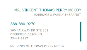 1083237820 NPI Number | MR. VINCENT THOMAS PERRY MCCOY | DEERFIELD BEACH,  FL | NPI Registry | Medical Coding Library | www.HIPAASpace.com © 2020