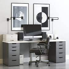 3d model ikea workplace with alex table