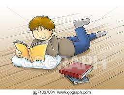 kid reading a book cartoon ilration kid a boy reading a book lying on the floor cartoon ilration with beautiful color