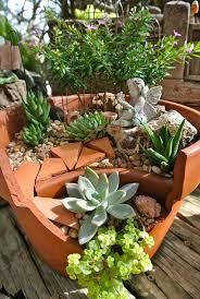 diy broken pot fairy garden 12