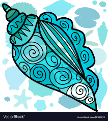 Seashell Design Marine Background Ornate Seashell For Your Design Vector Image
