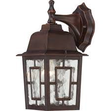 Nuvo Lighting 60 4909 Nuvo Lighting 60 4923 Banyon One Light Wall Lantern Arm Down 100 Watt A19 Max Clear Water Glass Textured Black Outdoor Fixture