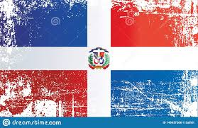 Dominican Flag Design Flag Of The Dominican Republic Wrinkled Dirty Spots Stock