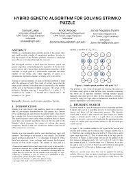 hybrid genetics algorithm for solving strimko puzzle pdf available
