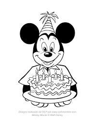 Disegno Di Topolino Con Torta Di Compleanno Da Colorare