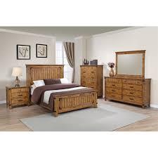 coaster brenner 4 piece california king panel bedroom set in honey