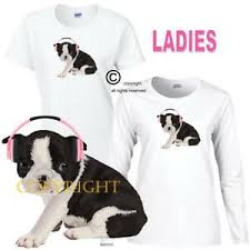 Boston Terrier Size Chart Details About Puppies Rule Boston Terrier Dog Pink Headphones Series Ladies White T Shirt