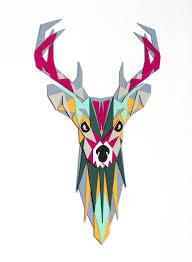 deer papercut artwork diy paper creation pdf pattern printable art animal head wall decor make your own papercraft deer head collage