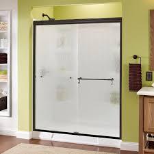 delta portman 60 in x 70 in semi frameless sliding shower door in
