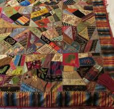 Museum Quality & Antique Quilt 6537. Bridal Buggy Lap Crazy Quilt in silks, satins, striped  border dated 1882, hand cross hatch quilted @ 8 st/in with red silk back,  ... Adamdwight.com