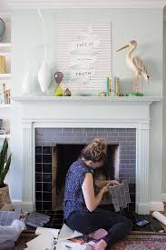 DIY Tile Fireplace Makeover with Peel and Stick Tiles