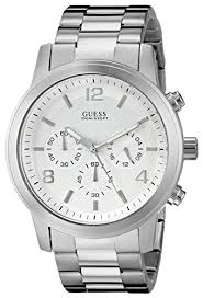guess men s u13577g1 silver tone stainless steel watch triple guess men s u13577g1 silver tone stainless steel watch triple link bracelet bossman watches