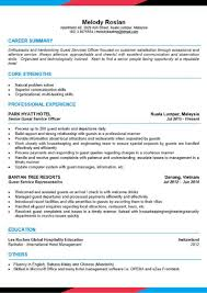 Senior Resume Template Cv Template Senior Guest Services Officer Asiahospitalitycareers