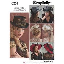 Steampunk Patterns Stunning SIMPLICITY SEWING PATTERN HATS IN 48 SIZES STEAMPUNK 84861 489486485848615